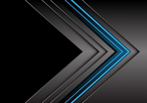Blaue hellgraue metallische pfeilrichtung mit schwarzem leerstellehintergrund.