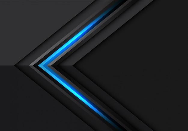 Blaue hellgraue pfeilrichtung auf modernen futuristischen hintergrund des dunklen designs.