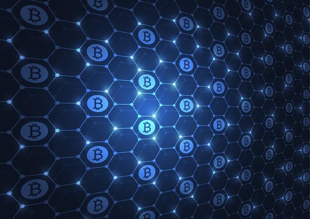 Blaue hexagone der abstrakten technologie von cryptocurrency bitcoin