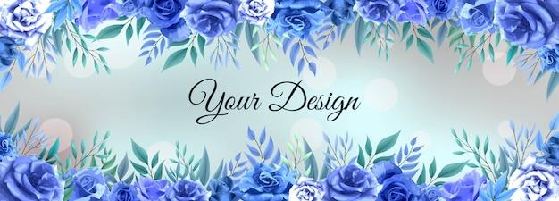Blaue hintergrundvorlage der bannerblume roseblau