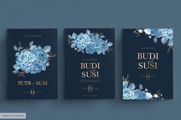Blaue hochzeitskarte mit dunklem blumenmuster