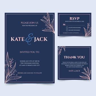 Blaue hochzeitskarten mit rahmen gesetzt