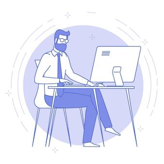 Blaue ikone der dünnen linie des jungen mannes, der im offenen raum arbeitet.