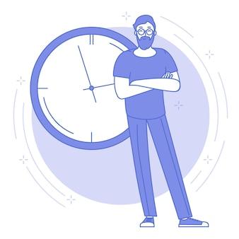 Blaue ikone der dünnen linie des zeitmanagement- und planungskonzepts mit dem jungen mann, der vor der großen bürouhr steht.