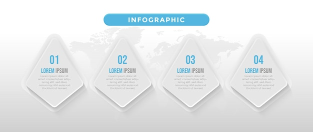 Blaue infogaphische vorlage mit 4 schritten und zeitachse