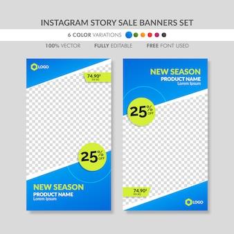 Blaue instagram geschichtenverkaufs-fahnenschablonen eingestellt