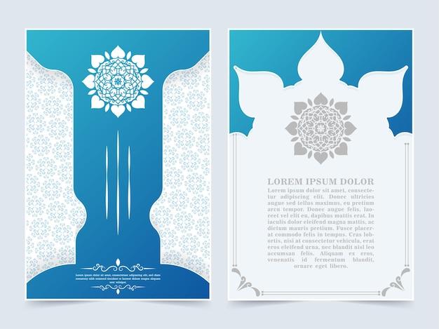 Blaue islamische abdeckung mit mandala-konzept