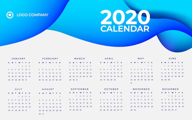 Blaue kalenderschablone der steigung 2020