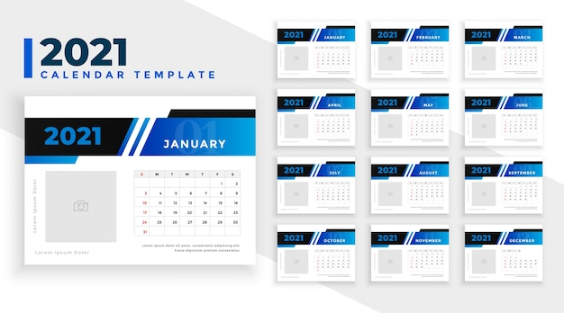 Blaue kalendervorlage des neuen jahres