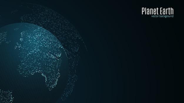 Blaue karte der erde von den quadratischen punkten. globale netzwerkverbindung, internationale bedeutung.