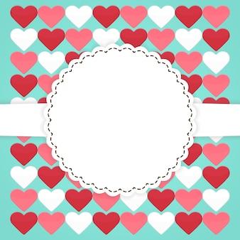 Blaue kartenvorlage mit rosa roten weißen herzen. vektor-illustration