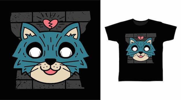 Blaue katze gebrochenes herz-t-shirt-design