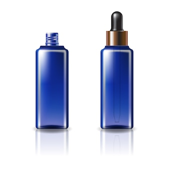 Blaue, klare, quadratische kosmetikflasche mit tropferdeckel aus schwarzem kupfer.