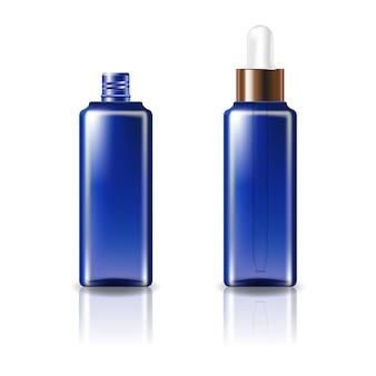 Blaue, klare, quadratische kosmetikflasche mit tropferdeckel aus weißkupfer.