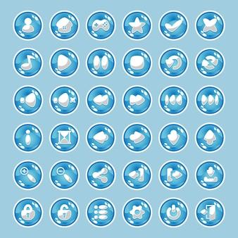 Blaue knöpfe mit symbolen.