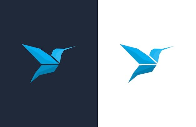 Blaue kolibri-logo-entwurfsvorlagen