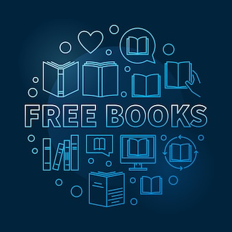 Blaue kreisentwurfs-ikonenillustration des konzeptes der freien bücher