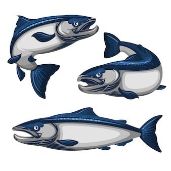 Blaue lachsfischillustration
