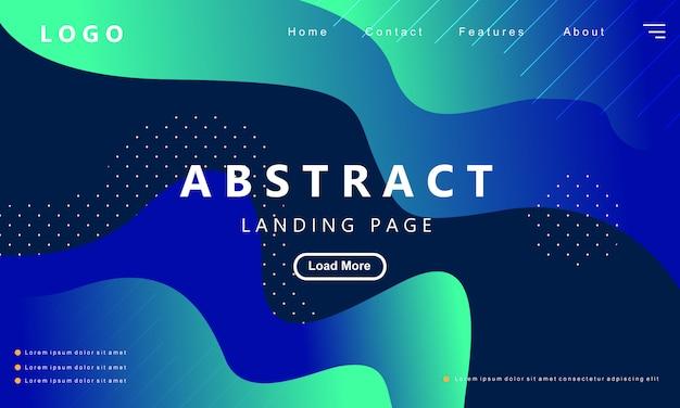 Blaue landungseite der modernen abstrakten steigung