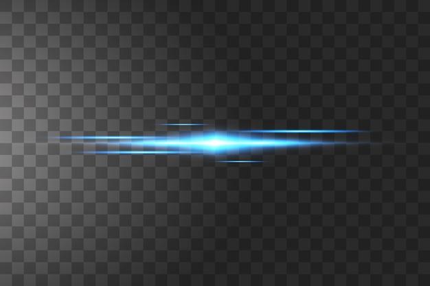 Blaue laserstrahlen, horizontale lichtstrahlen.