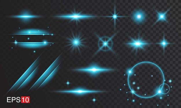 Blaue lens flare-sammlungen