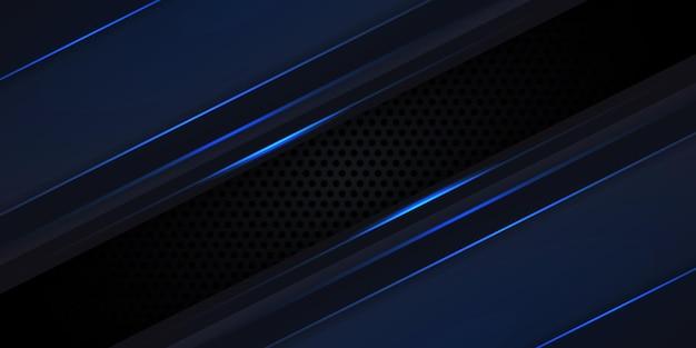 Blaue leuchtende linien und glanzlichter auf dem hintergrund der schwarzen kohlefasertechnologie.