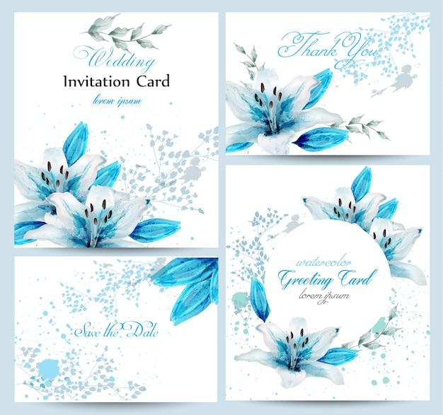 Blaue lilienaquarell-blumenblütenkarte