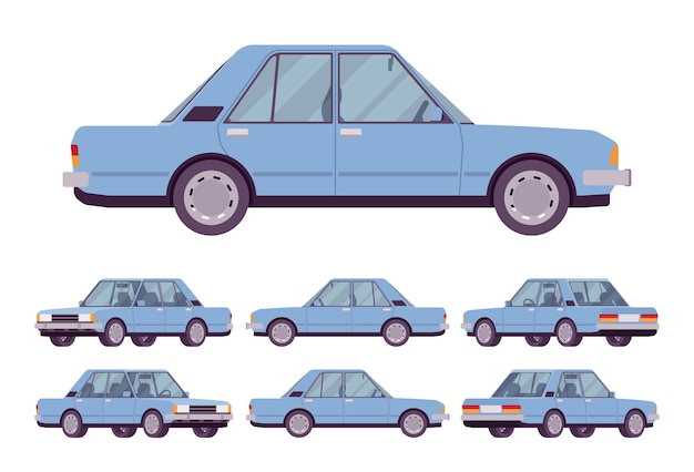 Blaue limousine eingestellt
