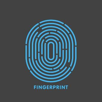 Blaue linie fingerabdruck in schwarzer hintergrundvektorillustration.
