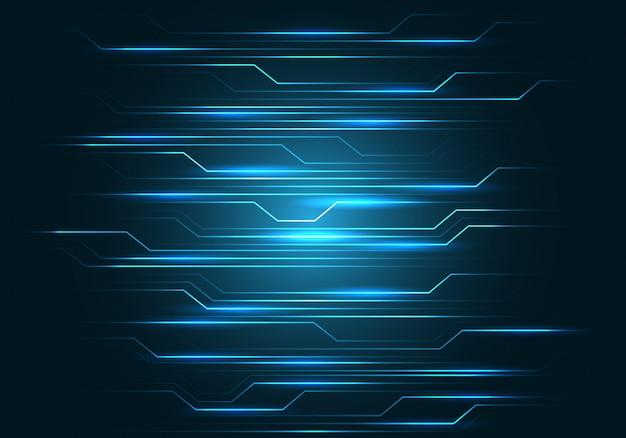 Blaue linie stromkreislicht auf schwarzem technologiehintergrund.
