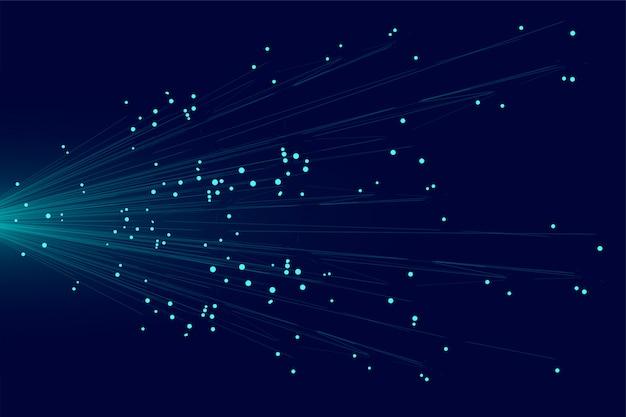 Blaue linien technologiehintergrund des abstrakten partikels