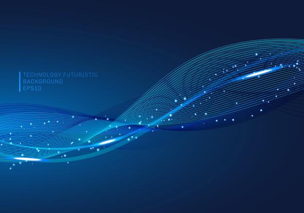 Blaue linien winken glühenden lichtelement-technologiehintergrund.