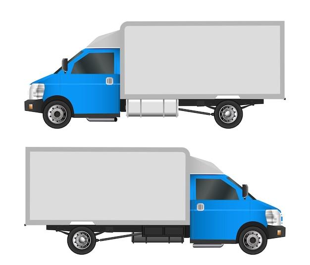 Blaue lkw-vorlage. cargo van vector illustration env 10 lokalisiert auf weißem hintergrund. lieferung von nutzfahrzeugen in der stadt