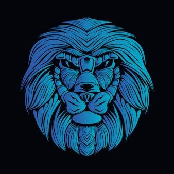 Blaue löwenkopfillustration