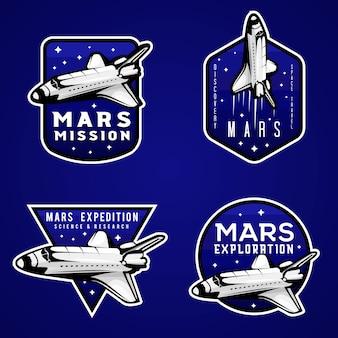 Blaue logos der mars-mission, satz abzeichen mit mars-motiven und shuttle