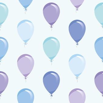 Blaue luft steigt nahtloses muster im ballon auf
