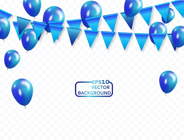 Blaue luftballons konfetti und bänder celebration hintergrund