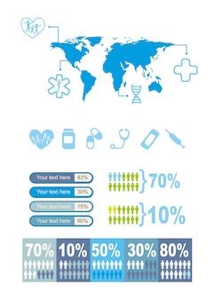 Blaue medizinische ikonen über weißer hintergrundvektorillustration