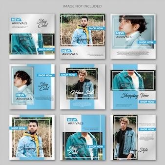 Blaue mode-social media-beitragsschablone