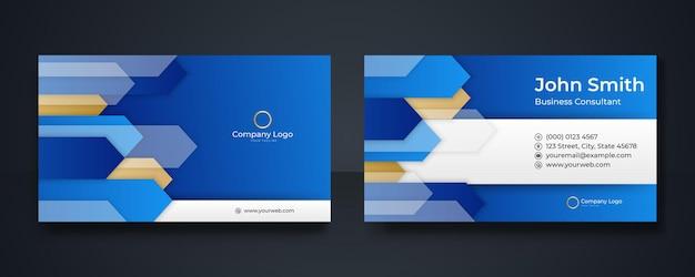Blaue moderne kreative visitenkarte und namenskarte, horizontales einfaches sauberes vorlagenvektordesign, layout in rechteckgröße Premium Vektoren