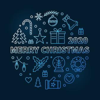 Blaue moderne lineare illustration der frohen weihnachten 2020
