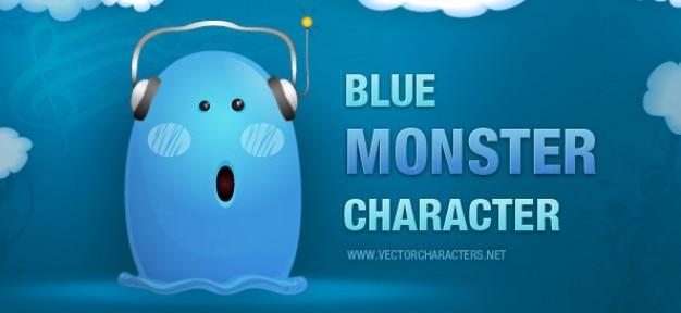 Blaue monster charakter mit kopfhörern