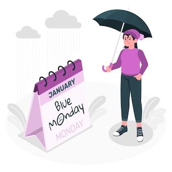Blaue montag-konzeptillustration