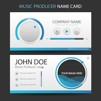 Blaue musikproduzent-visitenkarte Premium Vektoren