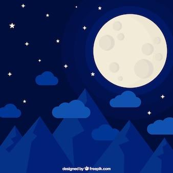 Blaue nachtlandschaft mit mond