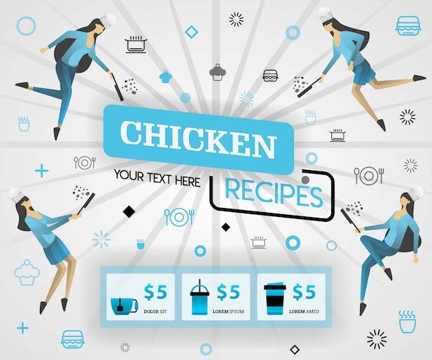 Blaue nahrungsmittelzeitschriftabdeckung für hühnerrezepte