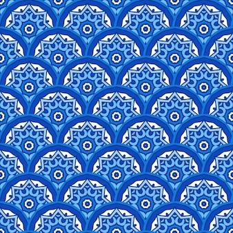 Blaue nahtlose muster fliesen vektor abstarct hintergrund. abstrakte wintertextur