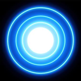 Blaue neonlichtkreise, abstrakter hintergrund, vektorillustration im format eps10