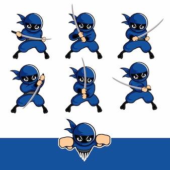 Blaue ninja-cartoon-sets mit einem schwert und einer fliege