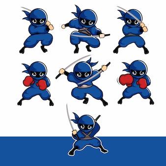 Blaue ninja-cartoon-sets mit schwert und boxhandschuhen